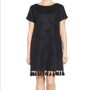 Madewell Embroidered Shift Dress with Tassel Trim